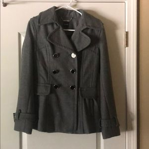 Express Grey Wool Peacoat Size Small